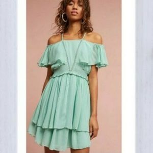 Anthro Maeve sea foam green cold shoulder dress